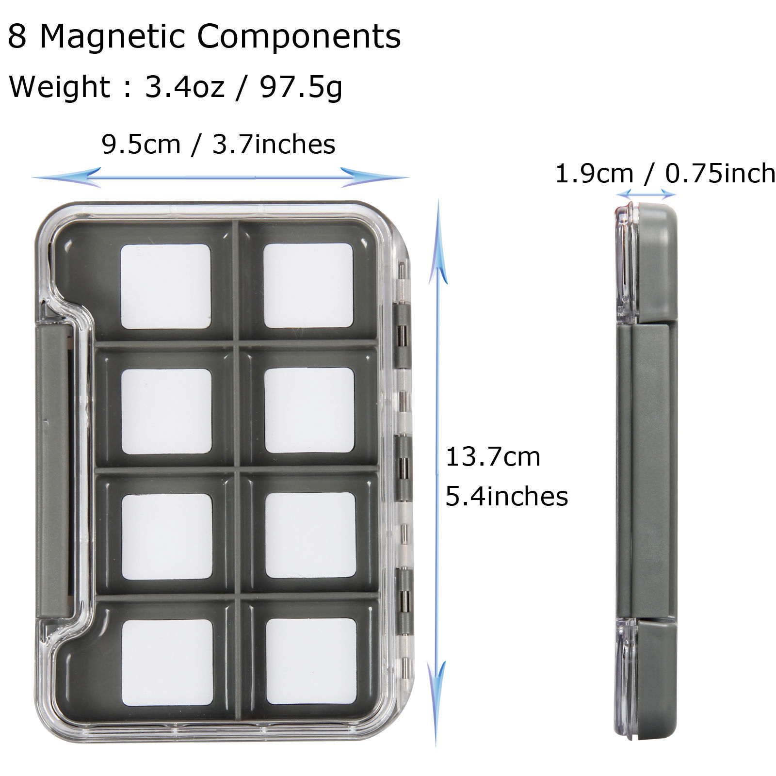 Small Slim Waterproof 8 Compartment Magnetic Fly Box